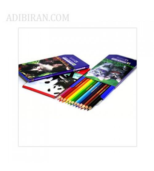 مداد رنگی 12 رنگ جعبه مقوایی دایناسور